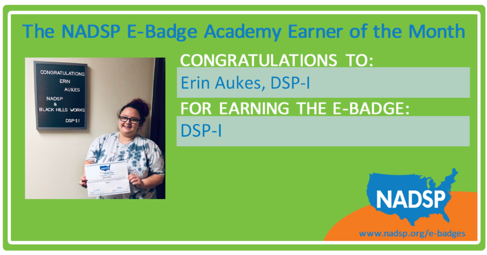 March E-Badge Earner of the Month: Erin Aukes of Black Hills